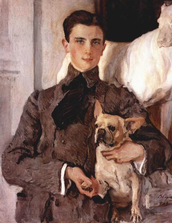Портрет графа Юсупова с французским бульдогом